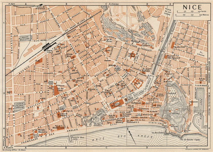 Associate Product NICE. Vintage town city map plan. Alpes-Maritimes 1954 old vintage chart
