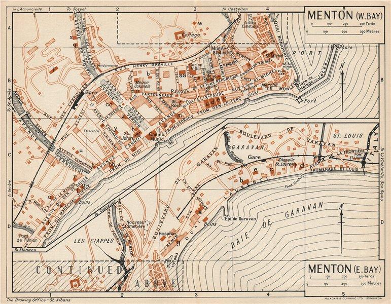 Associate Product MENTON. Vintage town city map plan. Alpes-Maritimes. Menton 1954 old