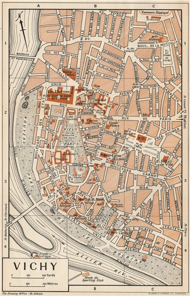 VICHY. Vintage town city map plan. Allier 1954 old vintage chart