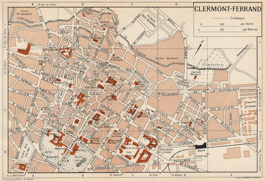 Associate Product CLERMONT-FERRAND. Vintage town city map plan. Puy-De-Dôme 1954 old vintage