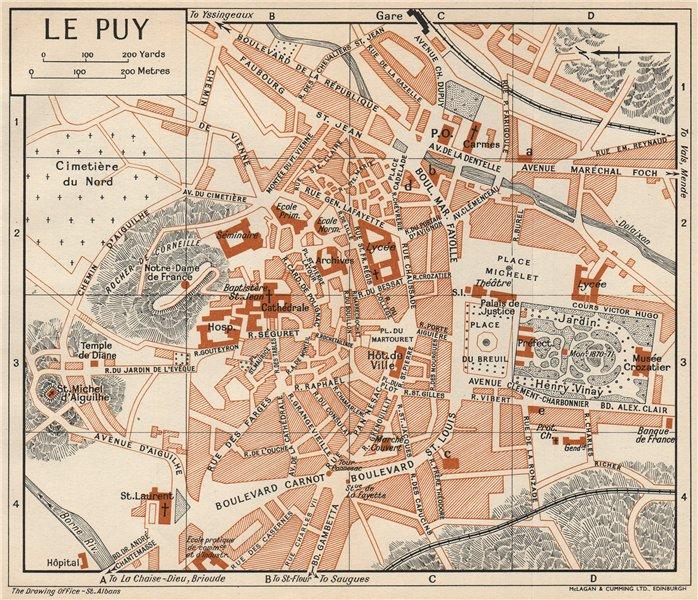 Associate Product LE PUY-EN-VELAY. Vintage town city map plan. Haute-Loire 1954 old vintage