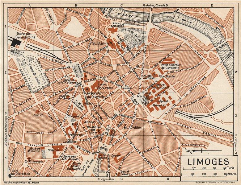 Associate Product LIMOGES. Vintage town city map plan. Haute-Vienne 1954 old vintage chart