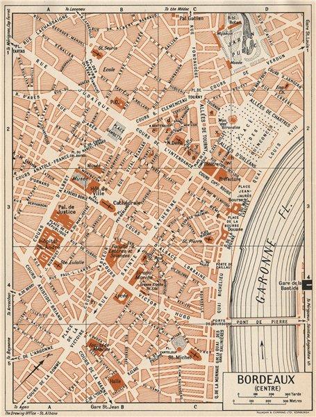 Associate Product BORDEAUX. Centre. Vintage town city map plan. Gironde 1954 old vintage