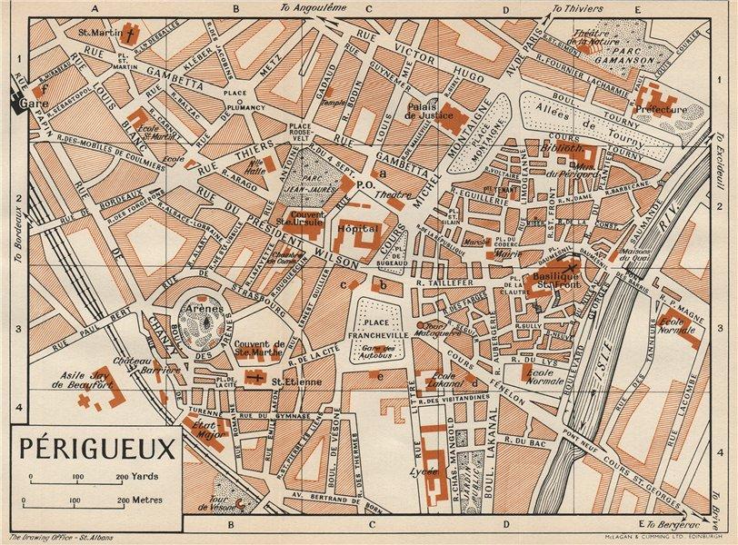 Associate Product PÉRIGUEUX. Vintage town city map plan. Dordogne. Périgueux 1954 old