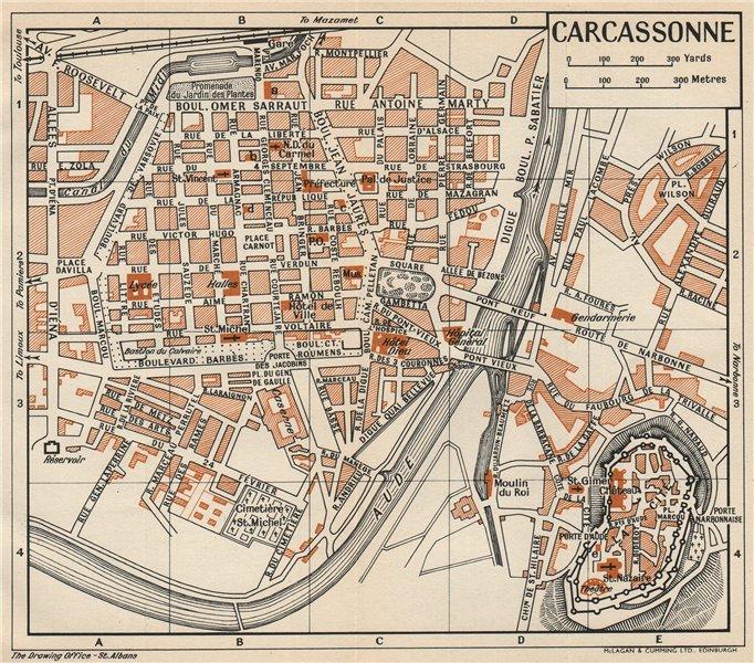 Associate Product CARCASSONNE. Vintage town city map plan. Aude 1954 old vintage chart