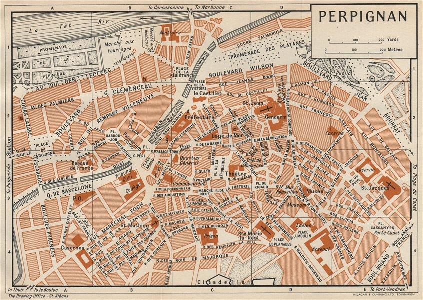 Associate Product PERPIGNAN. Vintage town city map plan. Pyrénées-Orientales 1954 old