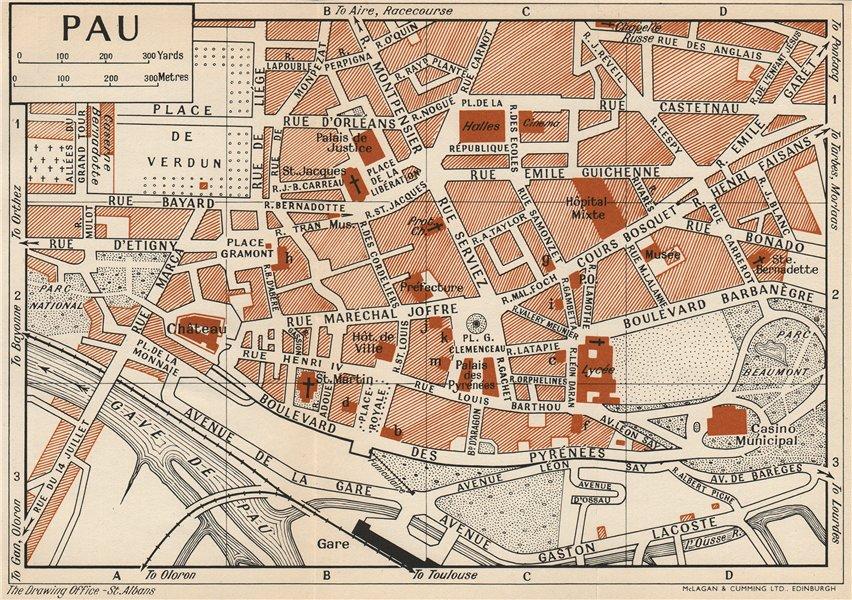 Associate Product PAU. Vintage town city map plan. Pyrénées-Atlantiques 1954 old