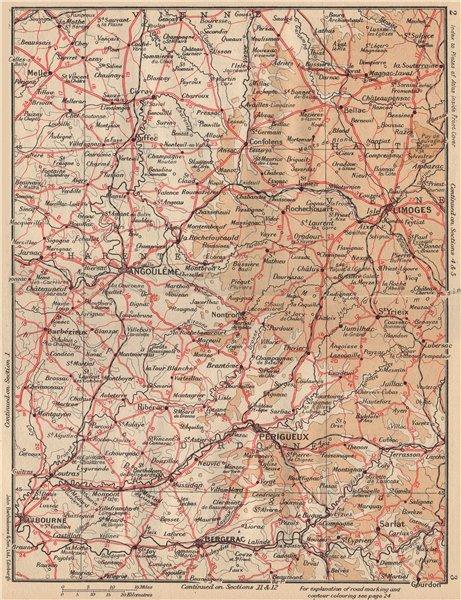 Associate Product PERIGORD-LIMOUSIN. Périgueux Angoulême Bergerac Dordogne Charente 1954 old map