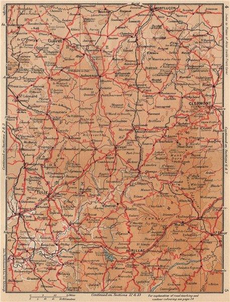 Associate Product CLERMONT-FERRAND & LE PUY. Monts Dôme. Aurillac Montluçon Auvergne 1954 map