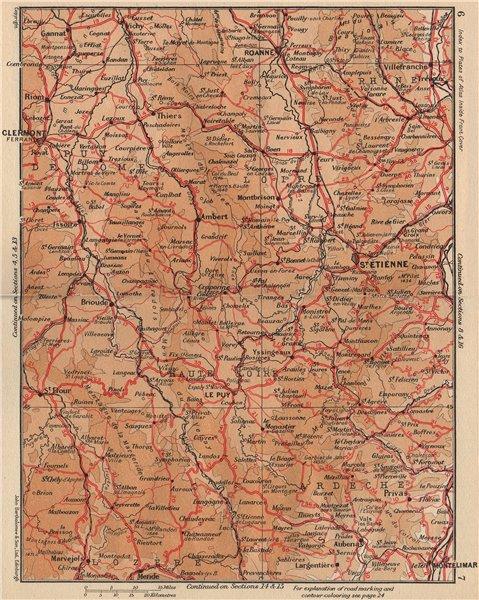 Associate Product MASSIF CENTRAL. Monts Livradois Forez Velay Vivarais Lyonnais Margeride 1954 map