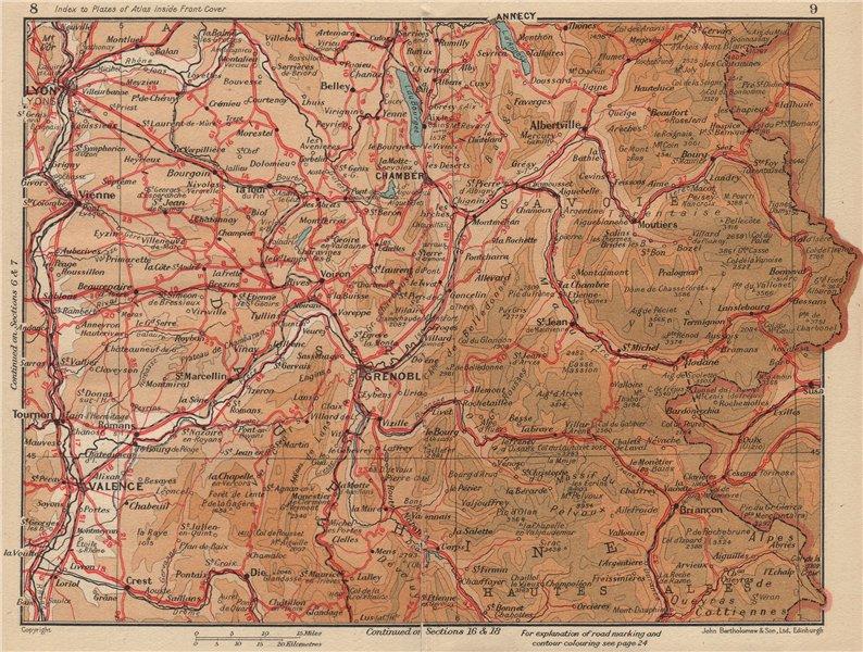 Associate Product DAUPHINÉ. Savoie Hautes-Alpes Isère Drome Lyon Grenoble Chambéry Alps 1954 map