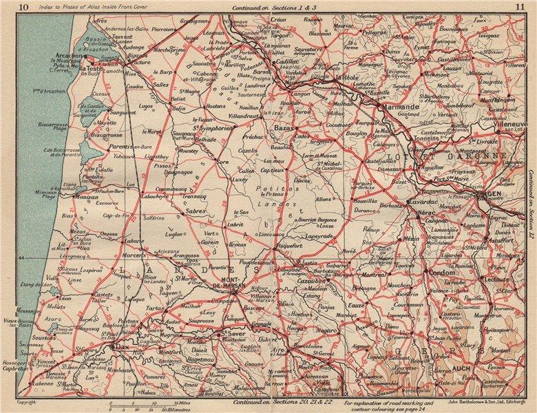 Associate Product LANDES. Côte d'argent. Arcachon Dax Auch Agen Mont-de-Marsan. Aquitaine 1954 map