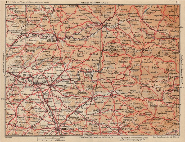 Associate Product MIDI-PYRÉNÉES.Toulouse Montauban Rodez Castres Albi Cahors.Lot Aveyron 1954 map