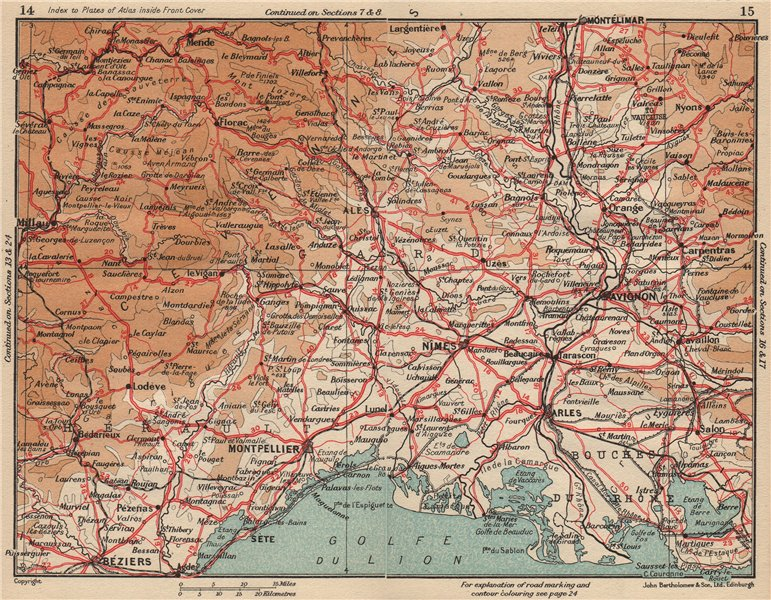 Associate Product CÔTE CAMARGUAISE.Gard Camargue Nîmes Avignon Arles Montpellier Cévennes 1954 map