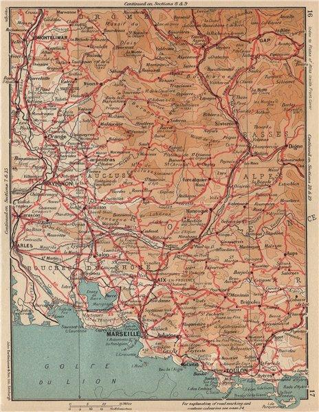 Associate Product PROVENCE WEST.Marseille Lubéron Avignon Arles Vaucluse Bouches-Du-Rhône 1954 map
