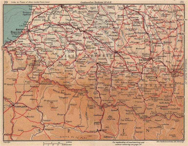 Associate Product PYRÉNÉES WEST.Biarritz Bayonne Dax Pau Tarbes Pamplona Lourdes Bagnères 1954 map