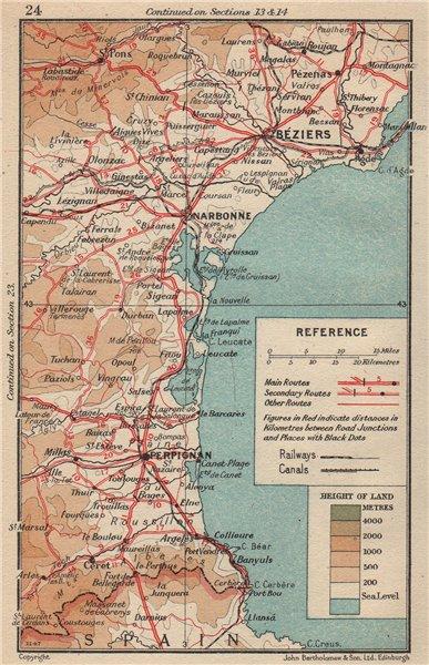 Associate Product CÔTES D'AMÉTHYSTE/VERMEILLE. Valras Banyuls Argèles Canet Port Vendres 1954 map