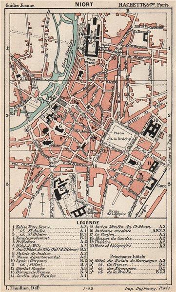 Associate Product NIORT. Vintage town city ville map plan carte. Deux-Sèvres 1899 old