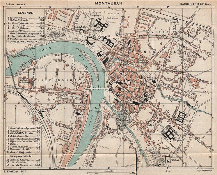 Associate Product MONTAUBAN. Vintage town city ville map plan carte. Tarn-et-Garonne 1899