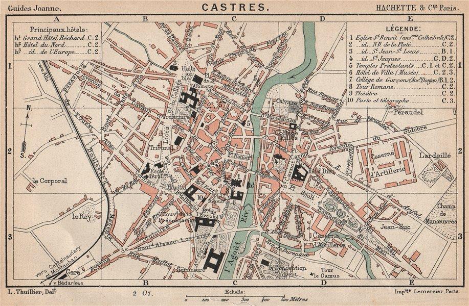 Associate Product CASTRES. Vintage town city ville map plan carte. Tarn 1899 old antique
