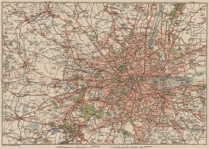 GREATER LONDON. Shows projected A40 & A316. Vintage city plan. London 1927 map