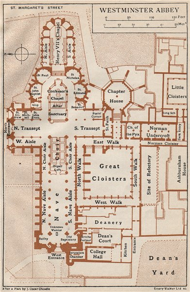 Associate Product WESTMINSTER ABBEY. Vintage map plan. London 1927 old vintage chart