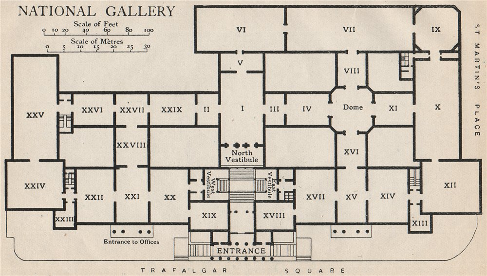 Associate Product NATIONAL GALLERY. Vintage map plan. London 1927 old vintage chart