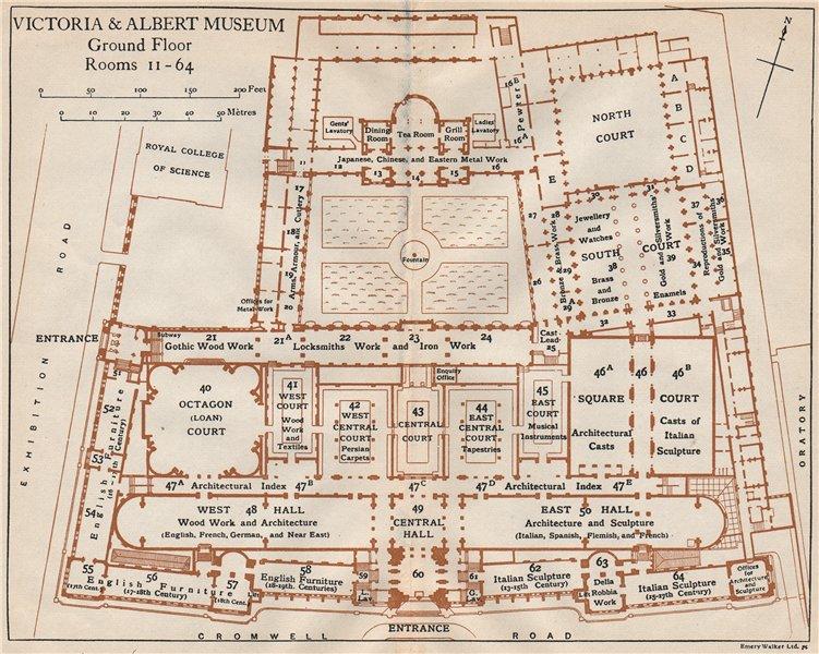 Associate Product VICTORIA & ALBERT MUSEUM. Ground floor vintage plan. South Kensington 1927 map