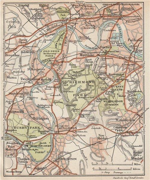 Associate Product SW LONDON. Richmond Barnes Kingston Chiswick Wimbledon Kew Bushy Park 1927 map