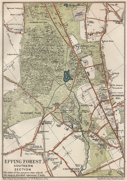 Associate Product EPPING FOREST SOUTH. Chingford Hatch. Buckhurst Hill. Vintage map. Essex 1927