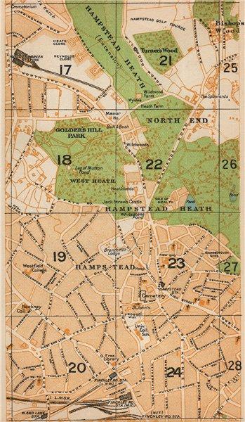 Associate Product LONDON NW. Hampstead Heath Golders Green Finchley Road West End Lane 1927 map