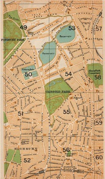 Associate Product LONDON N. Finsbury Park Highbury Canonbury Manor House Stamford Hill 1927 map