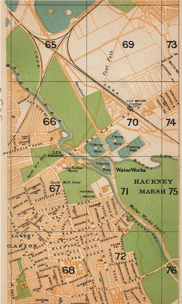 Associate Product LONDON NE. Hackney Marshes Leyton Marshes Lower Clapton Homerton 1927 old map
