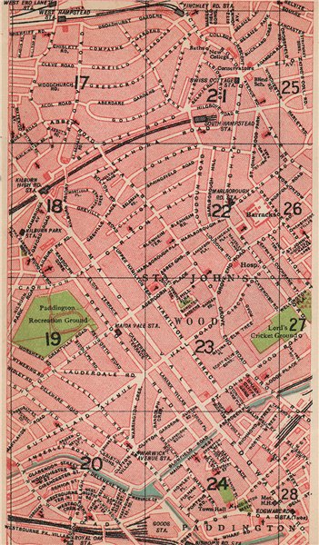 Associate Product LONDON NW. Maida Vale St John's Wood South/West Hampstead Swiss Cottage 1927 map
