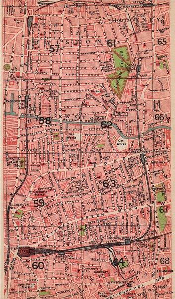 Associate Product LONDON E. Dalston Whitechapel Haggerston Bethnal Green London Fields 1927 map