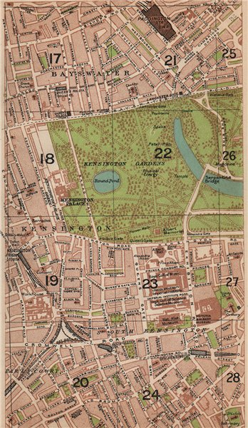 Associate Product LONDON W. Bayswater Earl's Court South Kensington Paddington 1927 old map