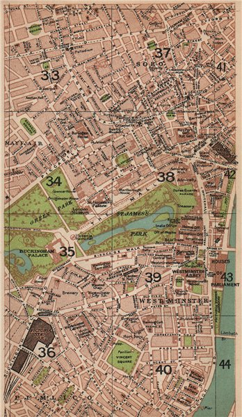 Associate Product LONDON W. Westminster Mayfair Soho Pimlico St James's West End 1927 old map