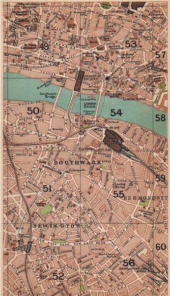 Associate Product LONDON SE.Southwark Bermondsey Newington City Borough Bricklayer's Arms 1927 map
