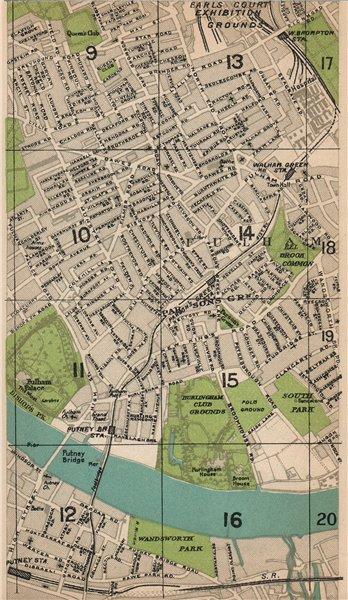 Associate Product FULHAM.Putney Bridge Parsons Green Earl's Court Walham Green W Brompton 1927 map