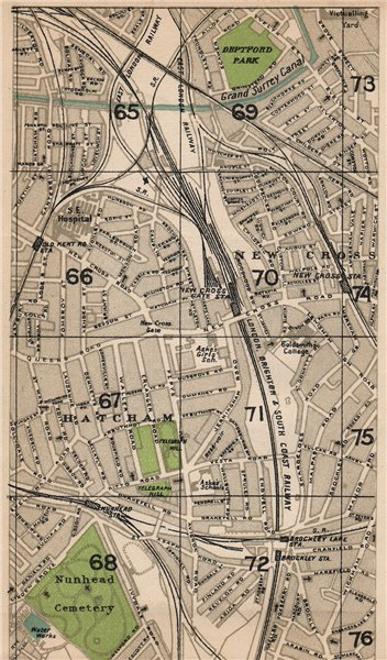 LONDON SE. Nunhead Hatcham New Cross Gate Surrey Canal Brockley 1927 old map