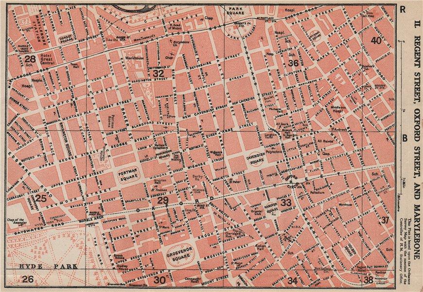 Associate Product MARYLEBONE. Regent Street Oxford Street Mayfair Soho Fitzrovia. Vintage map 1927