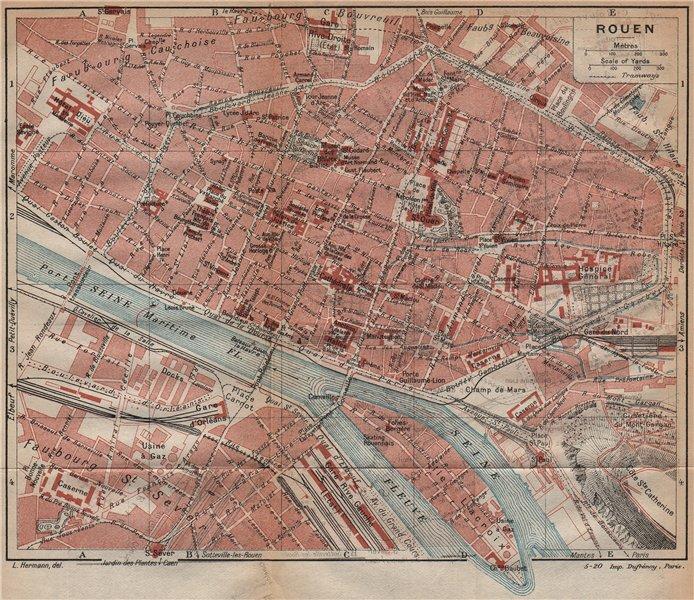 Associate Product ROUEN. Vintage town city map plan. Seine-Maritime 1920 old vintage chart