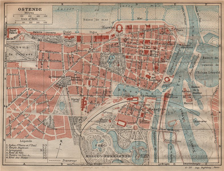 Associate Product OSTENDE. Vintage town city map plan. Belgium 1920 old vintage chart