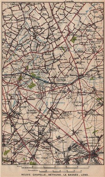 Associate Product NEUVE CHAPELLE, BÉTHUNE, LA BASSÉE, LENS. Vintage map plan. Pas-de-Calais 1920