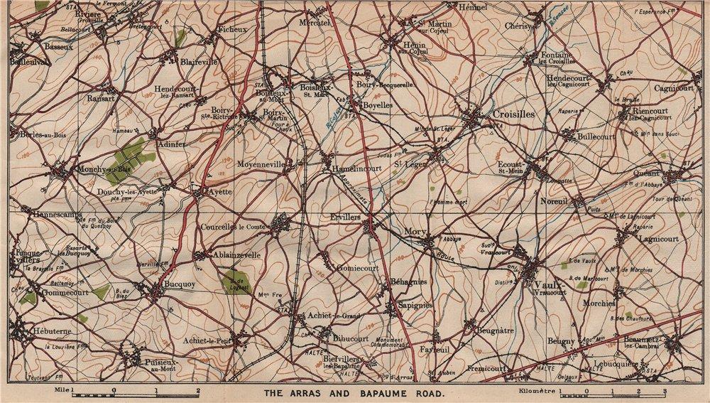 Associate Product ARRAS & BAPAUME ROAD. Vaulx Croisilles Quéant Bucquoy. Pas-de-Calais 1920 map