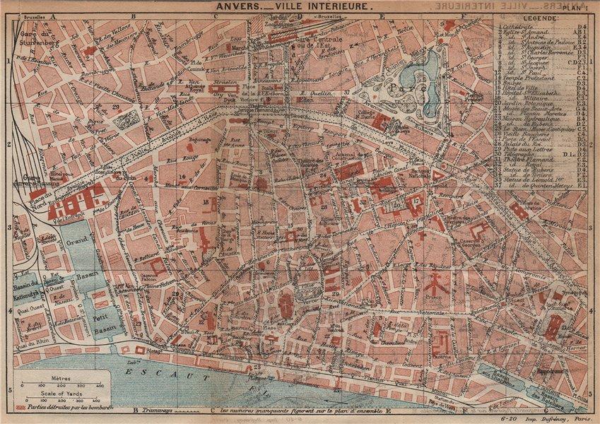 Associate Product ANTWERPEN-VILLE INTERIEURE. Vintage town city map plan. Belgium. Anvers 1920