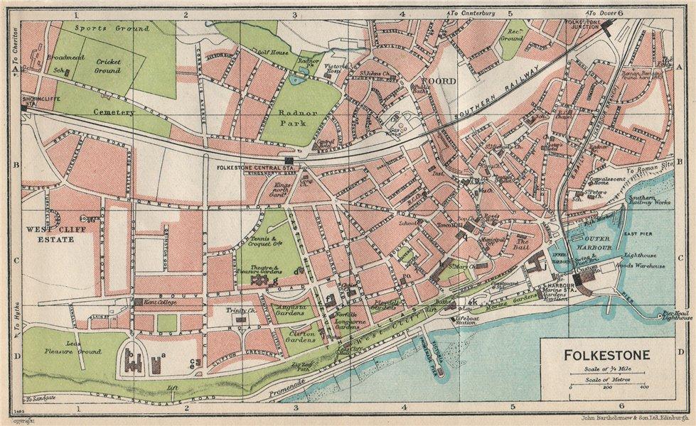 Associate Product FOLKESTONE. Vintage town city map plan. Kent 1950 old vintage chart