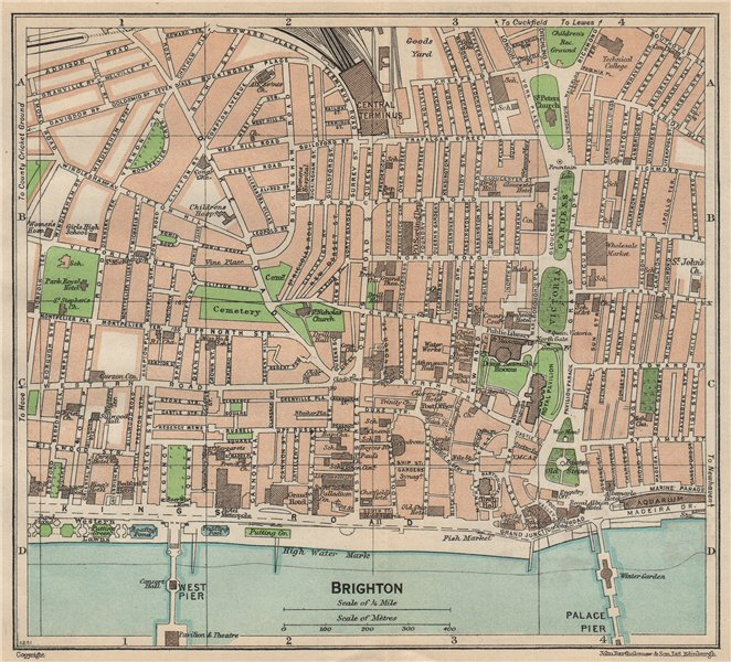 Associate Product BRIGHTON. Vintage town city map plan. Sussex 1950 old vintage chart