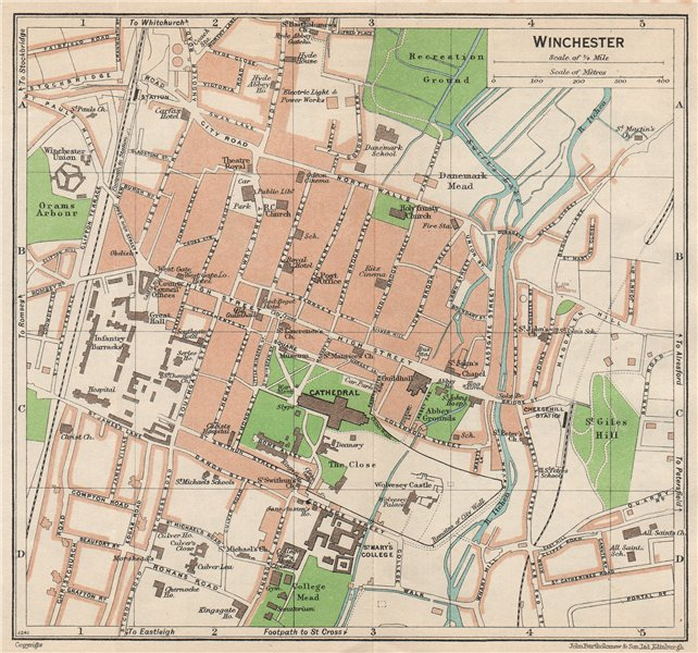Associate Product WINCHESTER. Vintage town city map plan. Hampshire 1950 old vintage chart