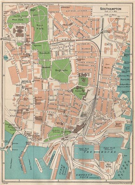 Associate Product SOUTHAMPTON. Vintage town city map plan. Hampshire 1950 old vintage chart